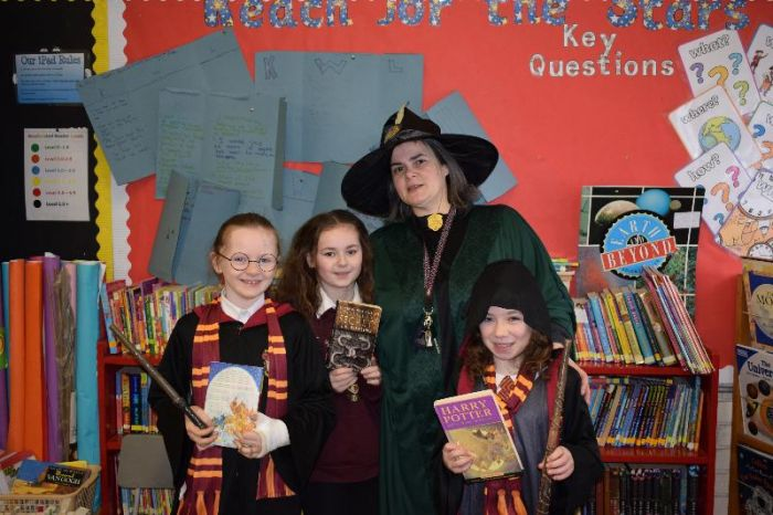 Professor McGonagall with some of her Hogwart students